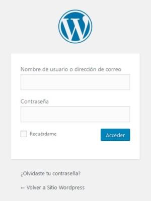 Formulario de acceso al back end de WordPress