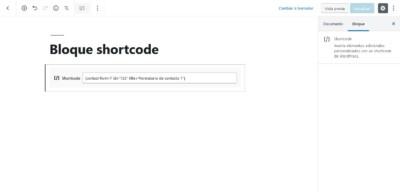 Añadir shortcode en el editor Gutenberg de WordPress