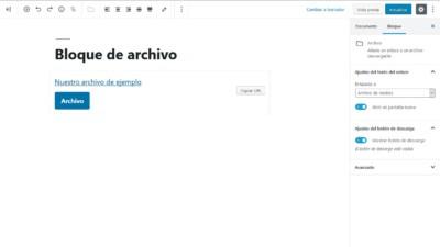 Bloque de archivo descargable en WordPress 5