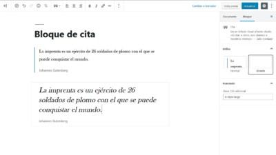 Bloque de cita en WordPress 5