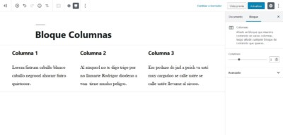 Bloque de columnas en WordPress 5