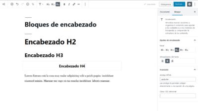 Bloques de encabezado en WordPress 5