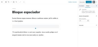 Bloque espaciador con Gutenberg en WordPress 5