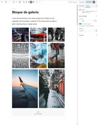 Bloque de galería de imágenes en el editor