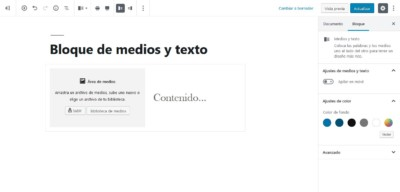 Elemento de diseño en WordPress 5. Bloque de medios y texto