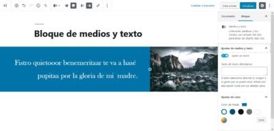 Bloque de medios y texto personalizado. Elementos de diseño en Gutenberg