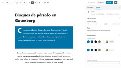 Bloques de párrafo en Gutenberg de WordPress 5