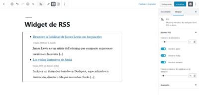 Editar bloque de widget RSS