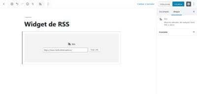 Añadir url en bloque RSS de Gutenberg