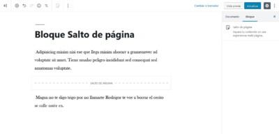 Añadr salto de página en WordPress 5