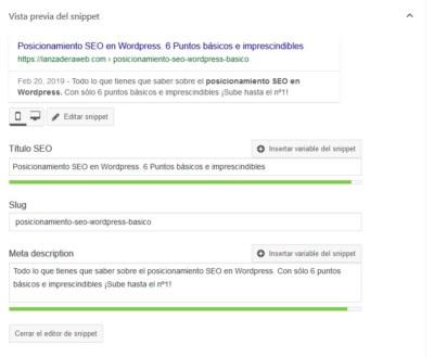 SEO en WordPress. Editar descripción con Yoast