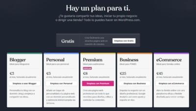Qué es WordPress.com. Planes de precios