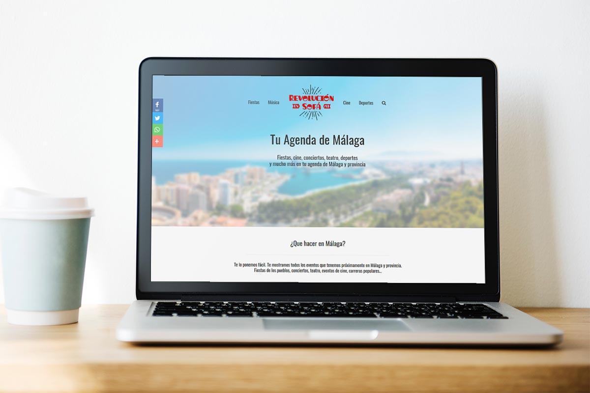 Web de eventos en Málaga. Revolución en mi Sofá