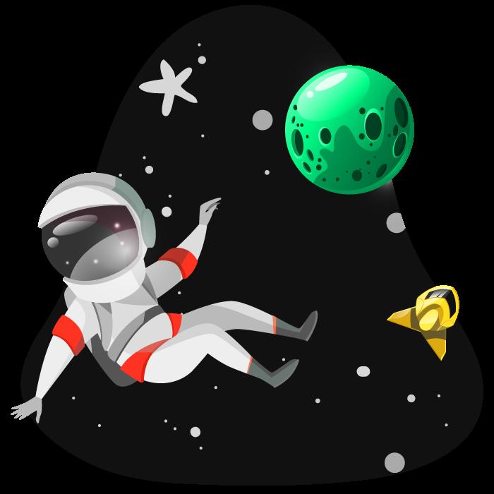 Persona en el espacio. Lanzadera Web