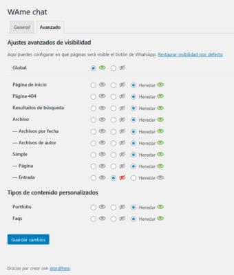 Configuración avanzada. Visibilidad en el plugin WAme Chat