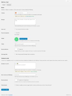 Configuración general del plugin WhatsApp para WordPress