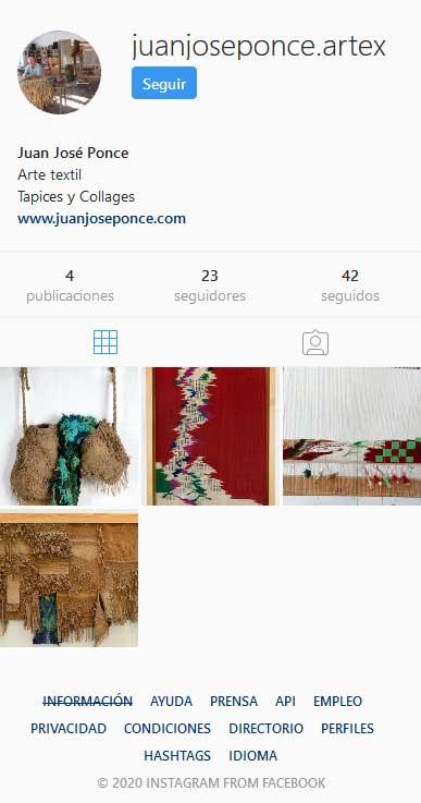 Perfil en Instagram de Juan José Ponce