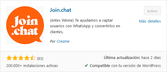 Plugin Join Chat WhatsApp Me del respositorio de WordPress