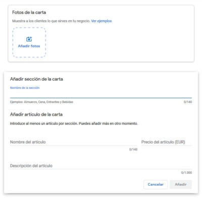Añadir carta o menú para restaurantes en Google My Business