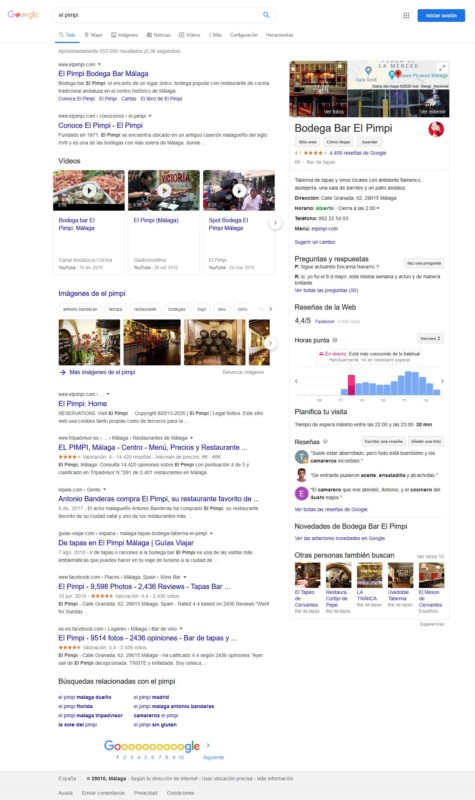 Ficha de Google My Business en búsqueda de Google