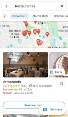 Búsqueda local en la app Maps en el móvil