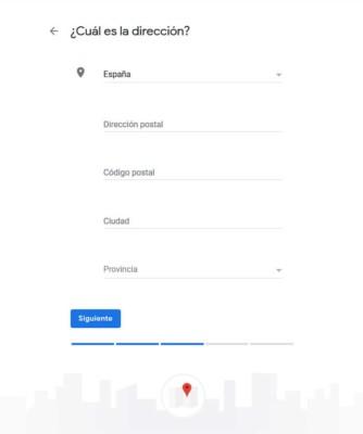 Dirección del negocio en Google