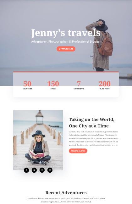 Ejemplo de diseño web para blog de viajera