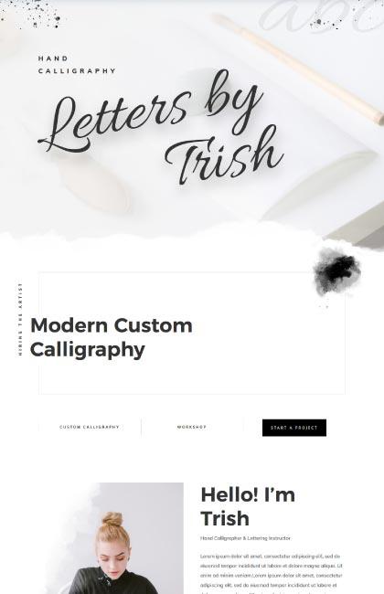 Ejemplo de diseño web para diseñadora de caligrafía y lettering