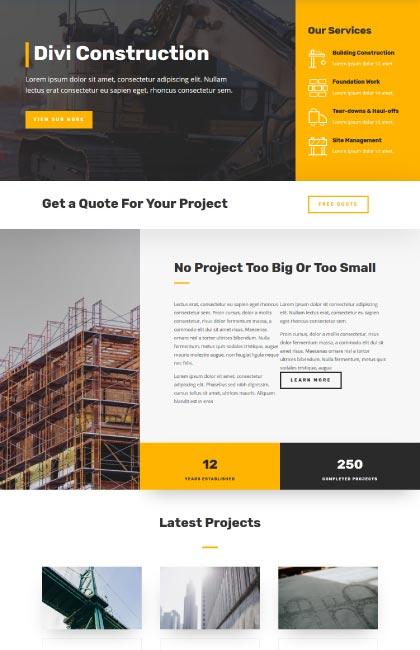 Ejemplo de diseño web para empresa de construcción
