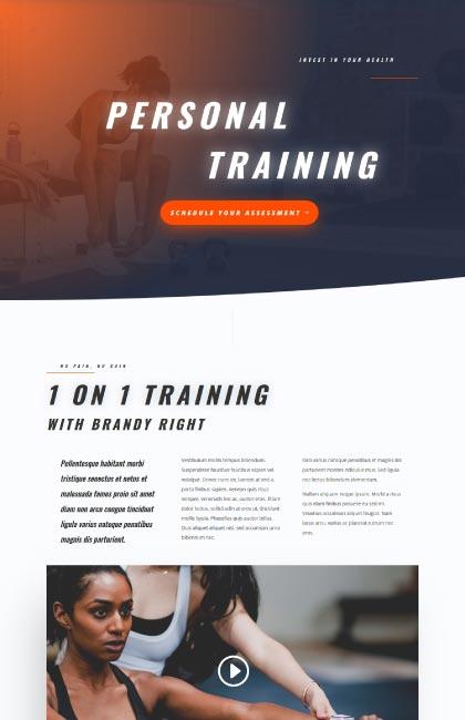 Ejemplo de diseño web para una entrenadora personal