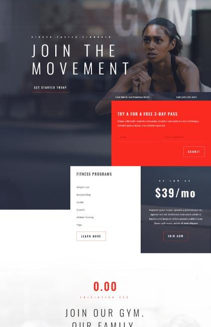 Ejemplo de diseño web para gimnasio