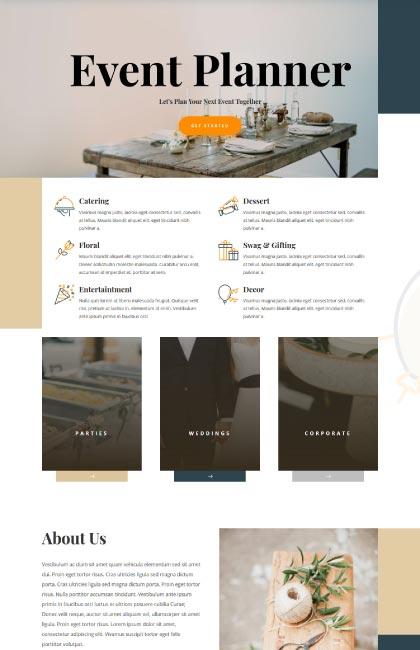 Ejemplo de diseño web para empresa de organización de eventos