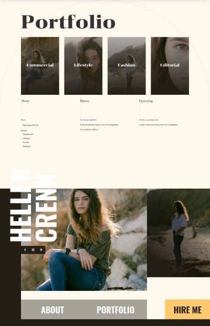 Ejemplo de diseño web del portfolio de una actriz