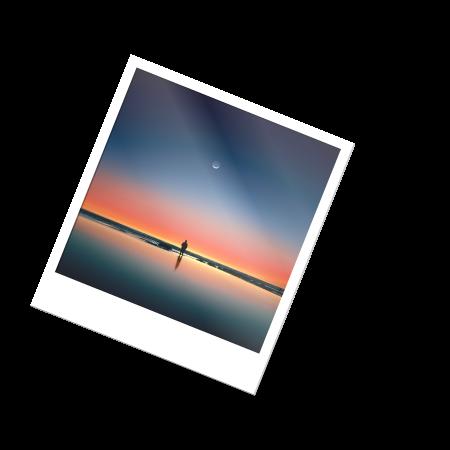 Foto polaroid de un paisaje