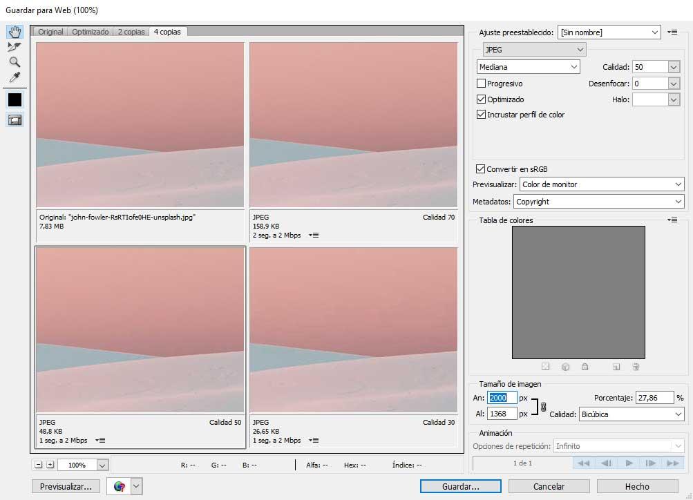 Optimizar imagen para web. Fotografía con poco contraste