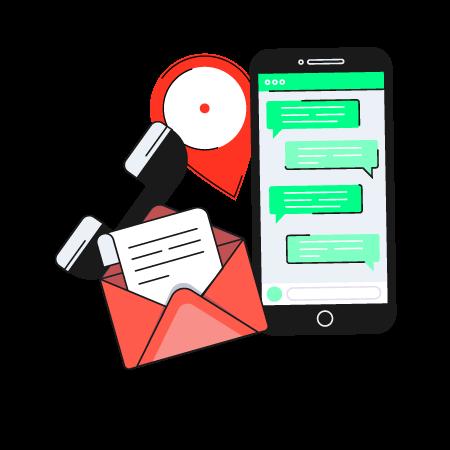 Iconos de contacto en la web con email, teléfono, ubicación...