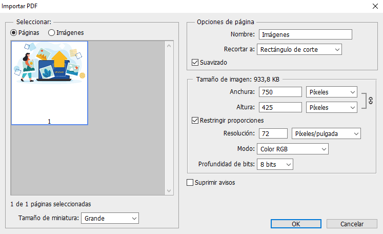 Importar PDF vectorial en Photoshop