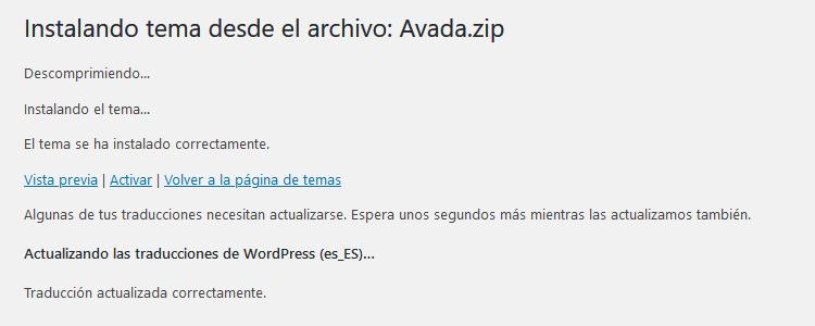 Activar tema WordPress después de instalar