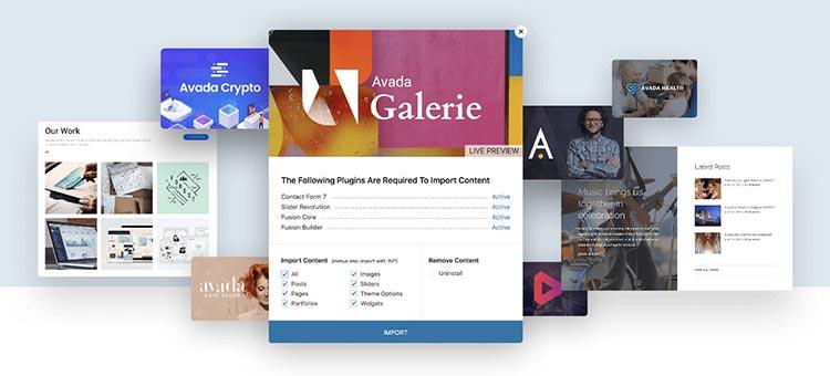 Biblioteca importador de ejemplos de diseños web de Avada
