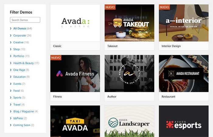 Demos de Avada. Galería de ejemplos web por temas