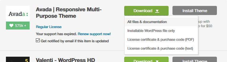 Descargar todos los archivos de Avada
