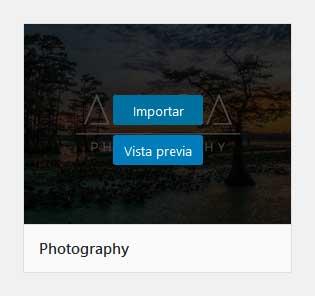 Importar demo de Avada Photography