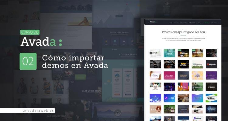 Instalar demos de Avada. Configuración, estilos y contenido