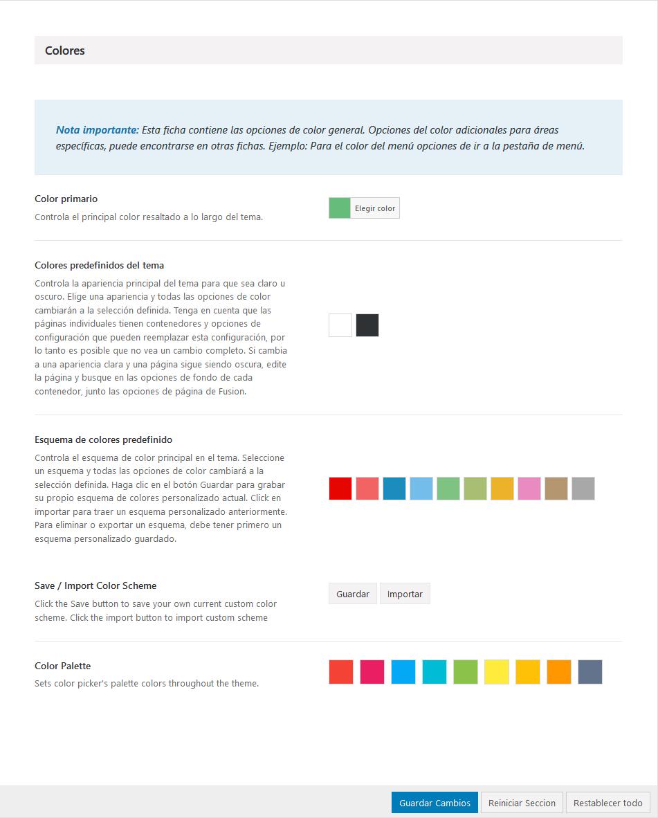 Opciones de colores del tema Avada