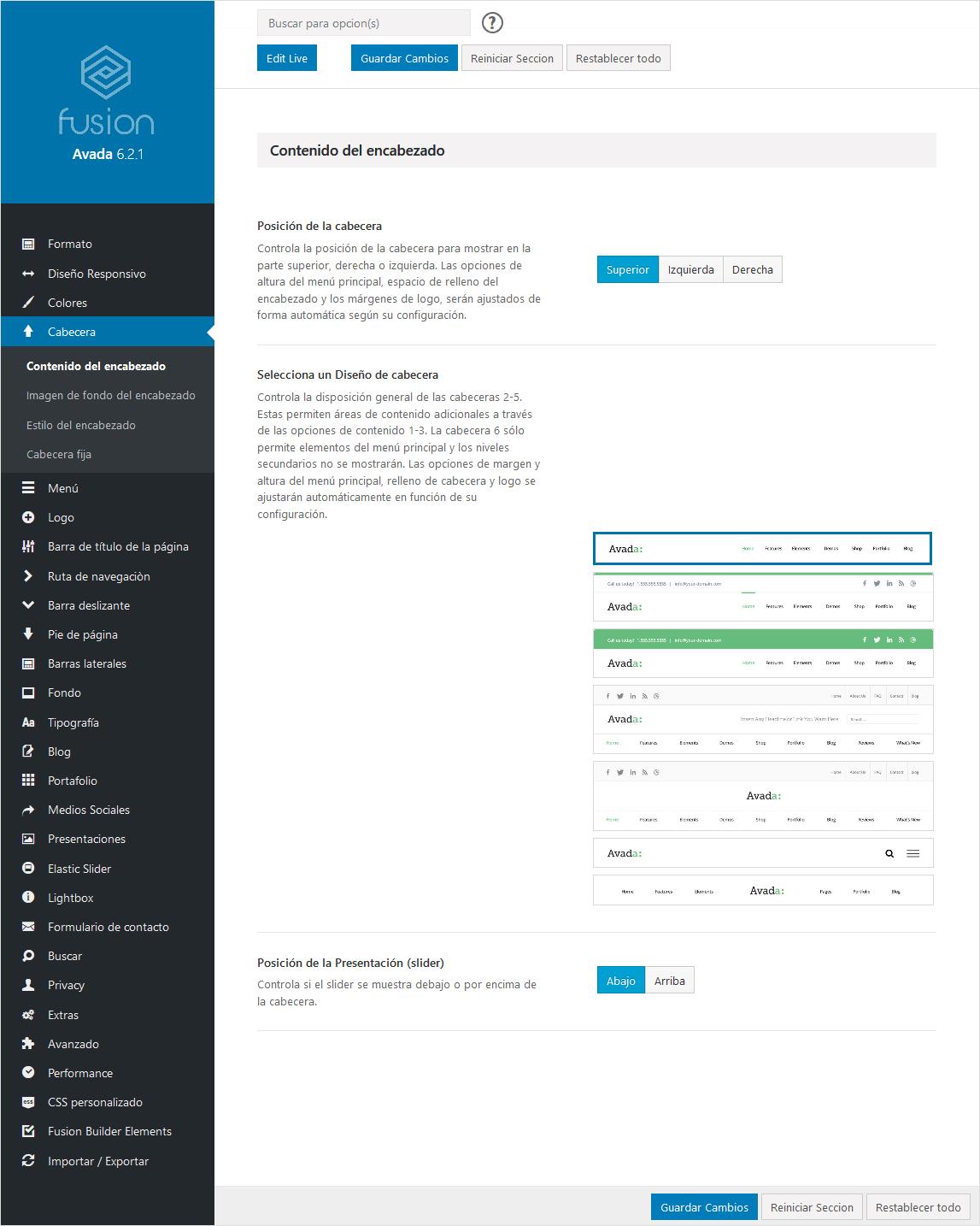 Opciones del tema. Configuración general de Avada