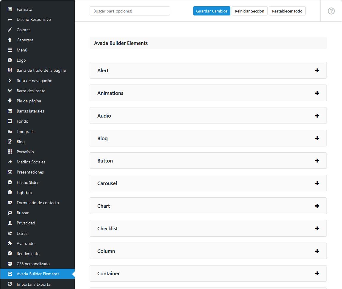 Panel de opciones globales de Avada Builder Elements