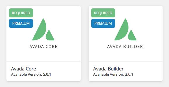 Plugins requeridos. Avada Core y Avada Builder