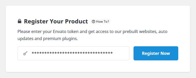 Registro de Avada con el token de Envato