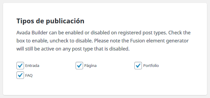 En ajustes, desactivar el Avada Builder de algunos tipos de publicación