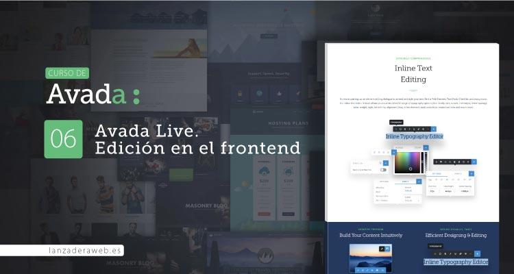 Avada Live. El constructor visual en el frontend